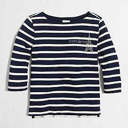 Girls' long-sleeve striped Eiffel Tower keepsake T-shirt