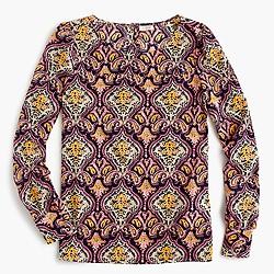 Printed boatneck blouse
