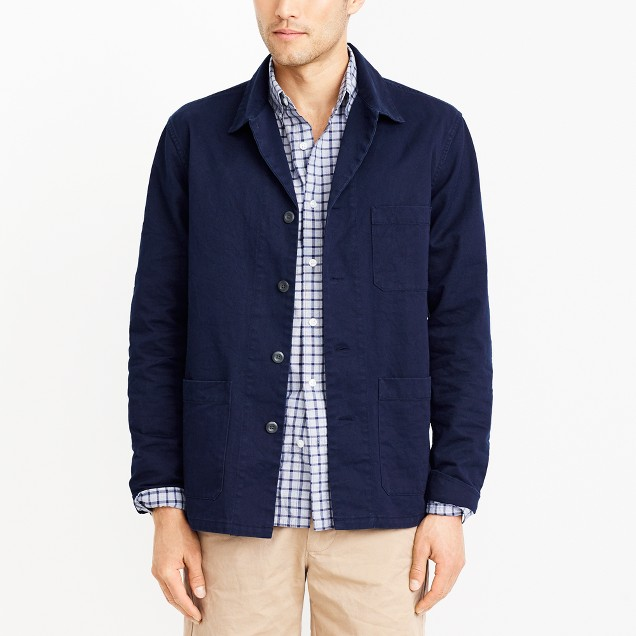 J.Crew Factory Mens Cotton Twill Shirt-Jacket (Navy)