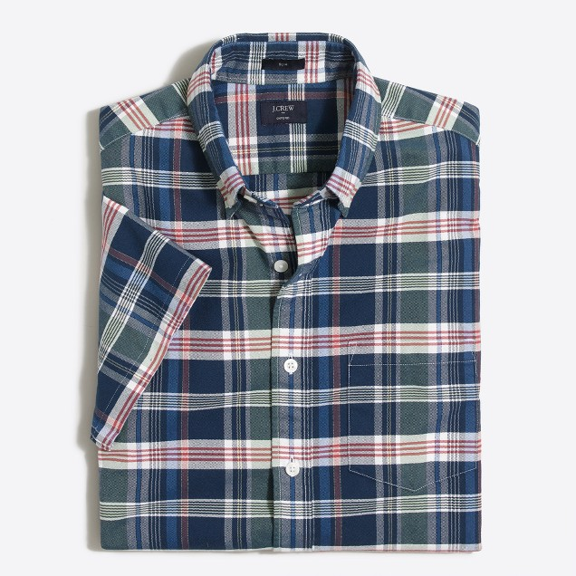 Slim short-sleeve oxford shirt in plaid