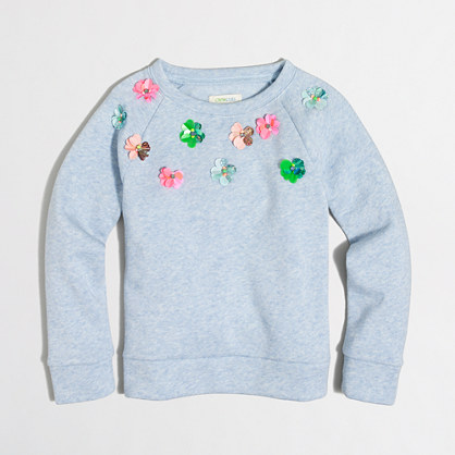 Girls' embellished flower sweatshirt
