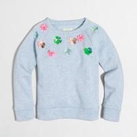 Girls' embellished flower sweatshirt