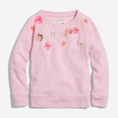 Girls' embellished flower sweatshirt factorygirls shirts, t-shirts & tops c