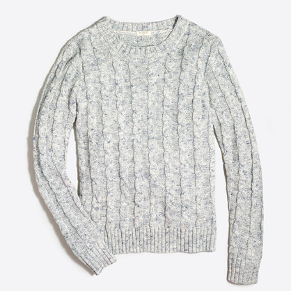 Space-dyed cable crewneck sweater