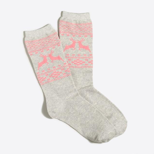 Kissing reindeer trouser socks