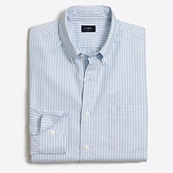 Striped washed shirt in end-on-end cotton