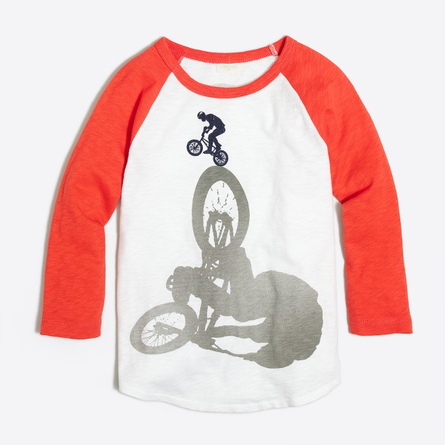 Boys' three-quarter sleeve BMX T-shirt