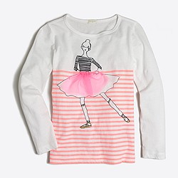 Girls' long-sleeve striped dancing girl keepsake T-shirt