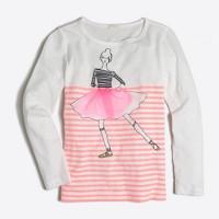 Girls' long-sleeve striped dancing girl keepsake T-shirt
