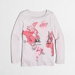 Girls' long-sleeve foil map keepsake T-shirt