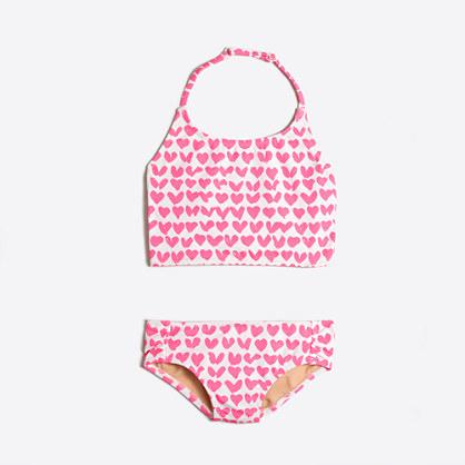 Girls' heart tankini two-piece bikini set