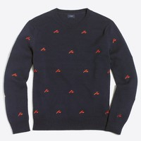 Embroidered lobster crewneck sweater