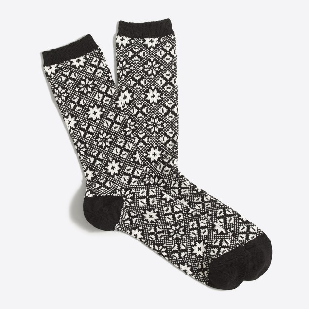 Snowflake winter-weight trouser socks