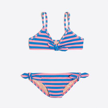 Girls' striped two-piece bikini set
