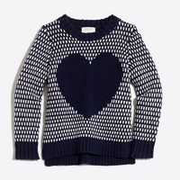 Girls' bird's-eye heart intarsia popover sweater