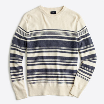Striped textured cotton crewneck sweater
