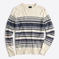 Striped textured cotton crewneck sweater