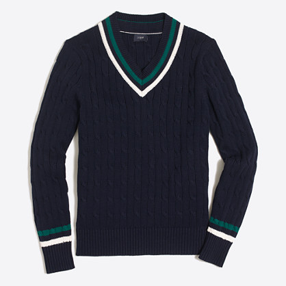 Cotton cable V-neck sweater