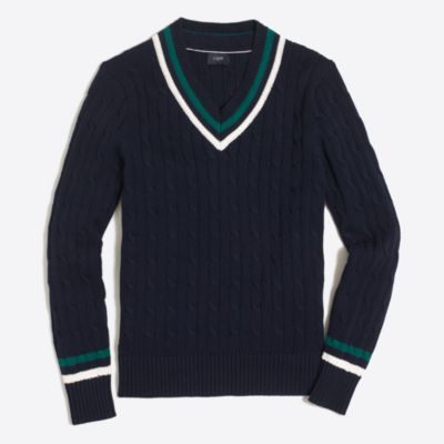Cotton cable V-neck sweater : | Factory