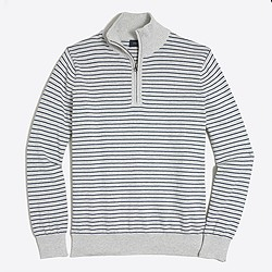 Microstripe cotton half-zip sweater