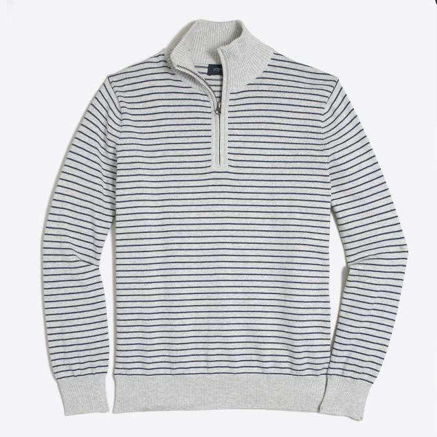 Microstripe cotton half-zip sweater