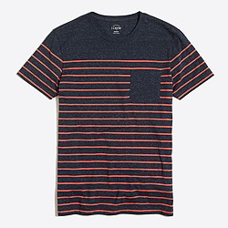 Slim drop-stripe pocket T-shirt