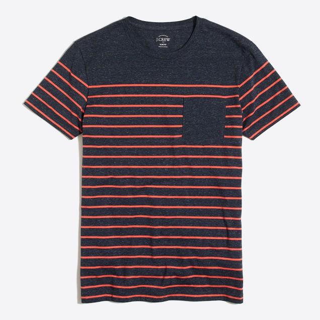 Slim drop-stripe pocket T-shirt