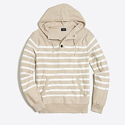 Striped cotton henley hoodie