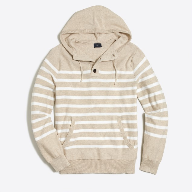 Striped cotton henley hoodie