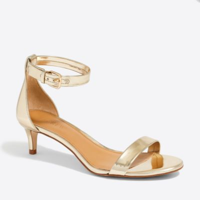 Metallic kitten-heel sandals factorywomen shoes c