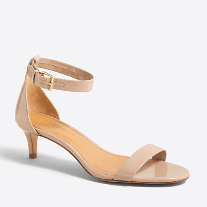 Patent kitten-heel sandals