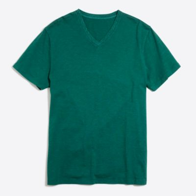 Sunwashed garment-dyed V-neck T-shirt factorymen new arrivals c
