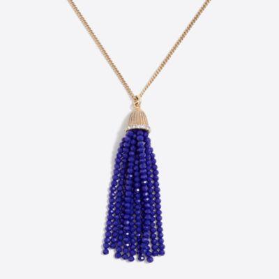 Sparkle beaded tassel pendant necklace