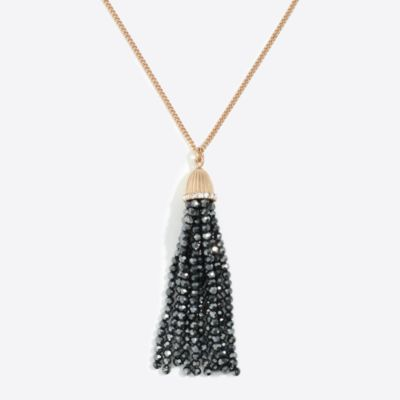 Sparkle beaded tassel pendant necklace