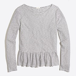 Long-sleeve striped ruffle-hem T-shirt