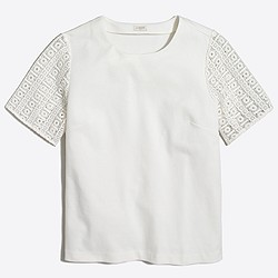 Lace-sleeve ponte top