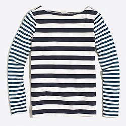 Long-sleeve mixed-stripe T-shirt