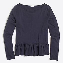 Long-sleeve ruffle-hem T-shirt