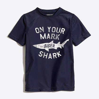 Boys' short-sleeve shark rash guard