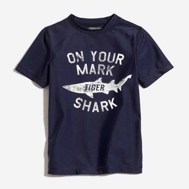 Boys' short-sleeve shark rash guard