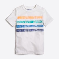 Boys' short-sleeve placed stripe graphic rashguard