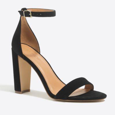 Suede chunky-heel sandals factorywomen online exclusives c
