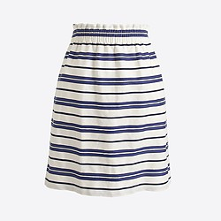 Striped cotton-linen sidewalk mini skirt