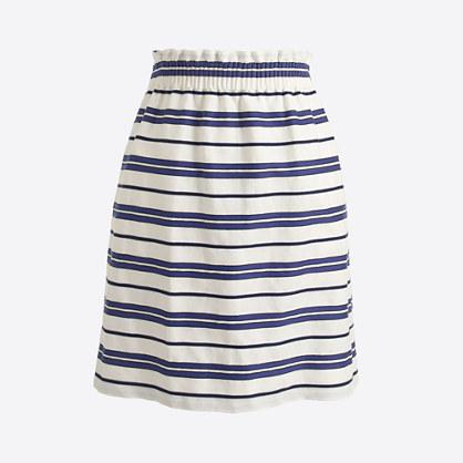 Striped cotton-linen sidewalk mini skirt