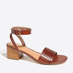 Perforated block-heel sandals