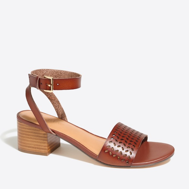 Perforated block-heel sandals