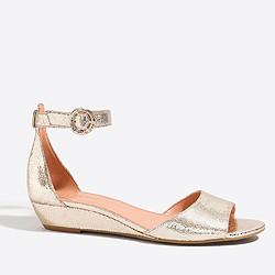 Metallic demi-wedge sandals