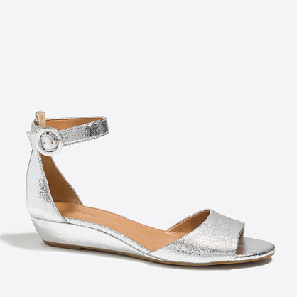 Metallic demi-wedge sandals