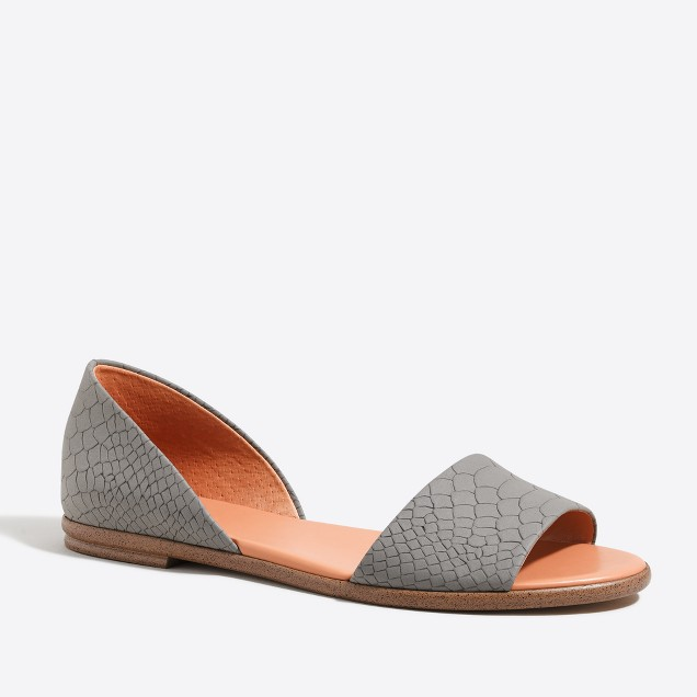 Morgan embossed peep-toe flats