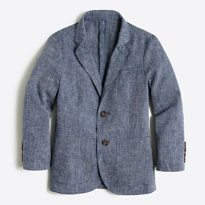 Boys' Thompson unconstructed blazer in linen-cotton
